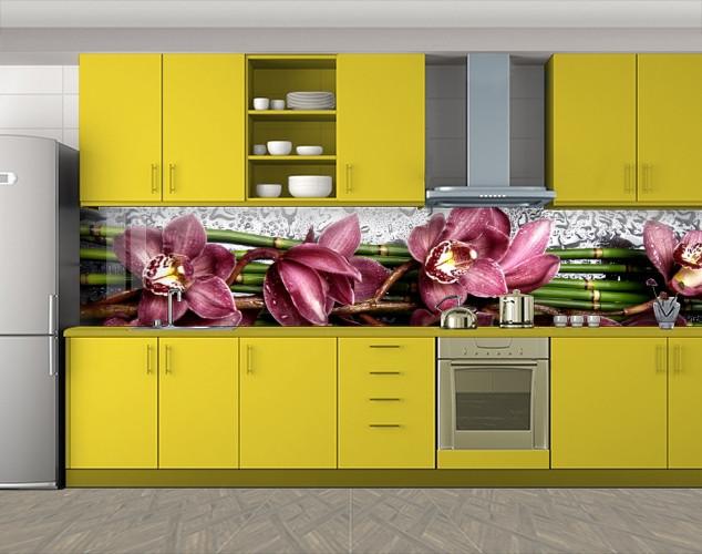 Кухонный фартук Бордовые орхидеи, Кухонный фартук с фотопечатью, Цветы, зеленый