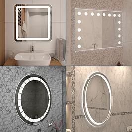 Зеркала с LED подсветкой БЕЗ рамы для ванной, прихожей