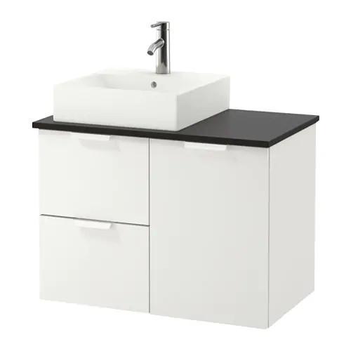 Шкаф с раковиной IKEA GODMORGON / TOLKEN / TÖRNVIKEN 82x49x72 см с 3 ящиками белый антрацит 891.911.38