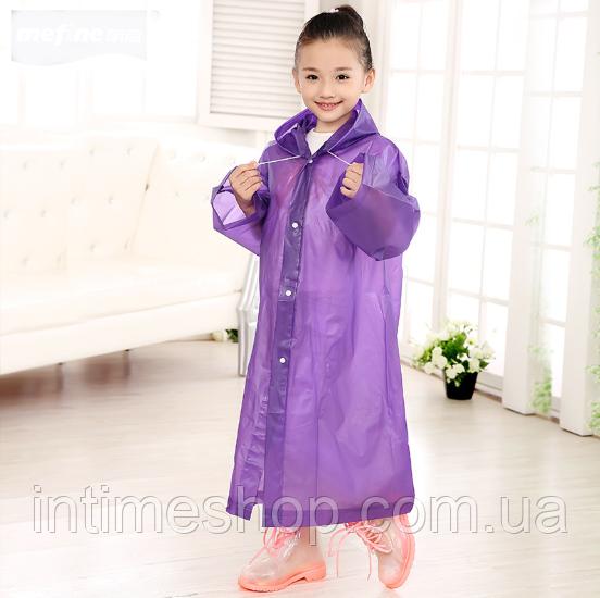 Детский дождевик, цвет - фиолетовый, плащ дождевик, EVA (TI)