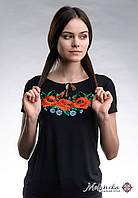 Чорна жіноча вишита футболка із квітковим орнаментом на короткий рукав «Макове поле», фото 1