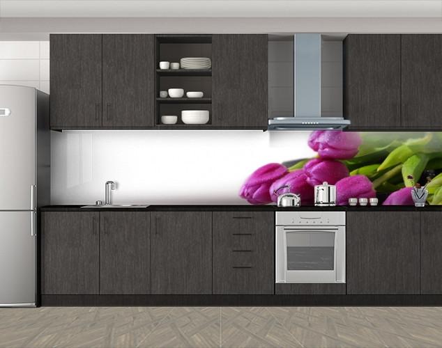 Кухонный фартук Охапка тюльпанов, Стеновая панель с фотопечатью, Цветы, белый