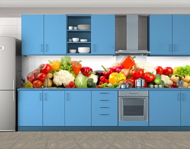 Кухонный фартук Сочные овощи, Самоклеящаяся стеновая панель для кухни, Еда, напитки, красный