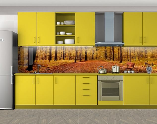 Кухонный фартук Пожелтевший лес, Наклейка на кухонный фартук, Природа, бежевый