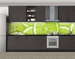 Кухонный фартук Лаймы, Кухонный фартук на самоклеящееся пленке с фотопечатью, Еда, напитки, зеленый