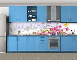 Кухонный фартук Город и цветы, Стеновая панель с фотопечатью, Рисунки, белый