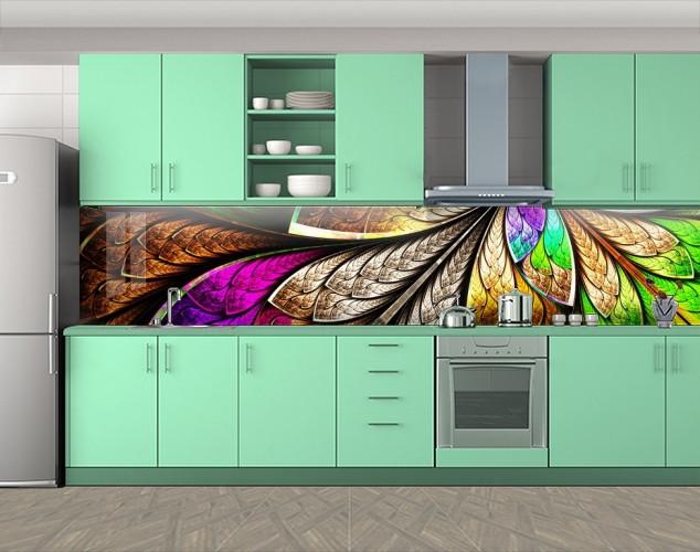 Кухонный фартук Радужные перья, Пленка самоклеящаяся для скинали, Текстуры, фоны, коричневый