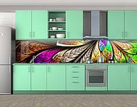 Кухонный фартук Радужные перья, Пленка самоклеящаяся для скинали, Текстуры, фоны, коричневый, фото 1