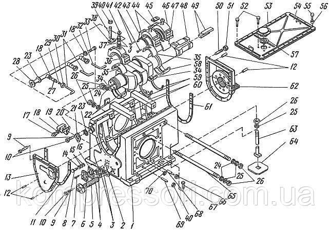 Рама с коленчатым валом компрессора 2ВМ10-63/9