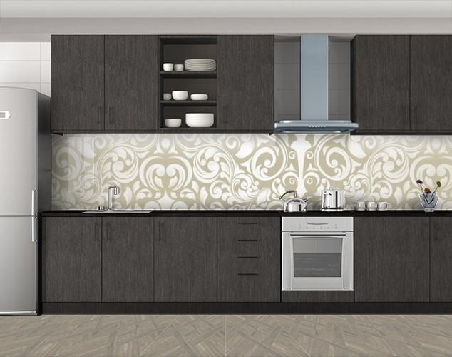 Кухонный фартук Растительные узоры, Кухонный фартук с фотопечатью, Текстуры, фоны, бежевый, 600*3000 мм