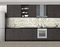 Кухонный фартук Растительные узоры, Кухонный фартук с фотопечатью, Текстуры, фоны, бежевый, 600*3000 мм, фото 1