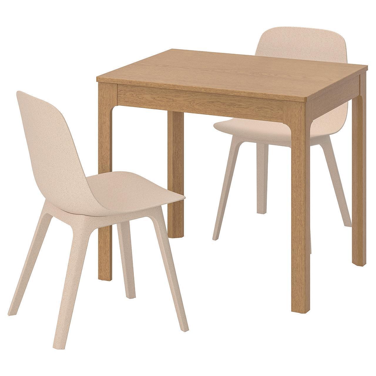 Комплект для кухни (стол и 2 стула) IKEA EKEDALEN / ODGER 80/120 см коричневый бежевый 492.214.01