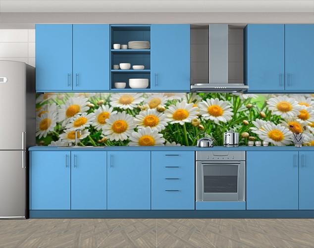 Кухонный фартук Ромашки 3, Пленка для кухонного фартука с фотопечатью, Цветы, зеленый