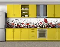 Кухонный фартук Бабочка на цветочном поле, Наклейка на кухонный фартук, Животный мир, красный