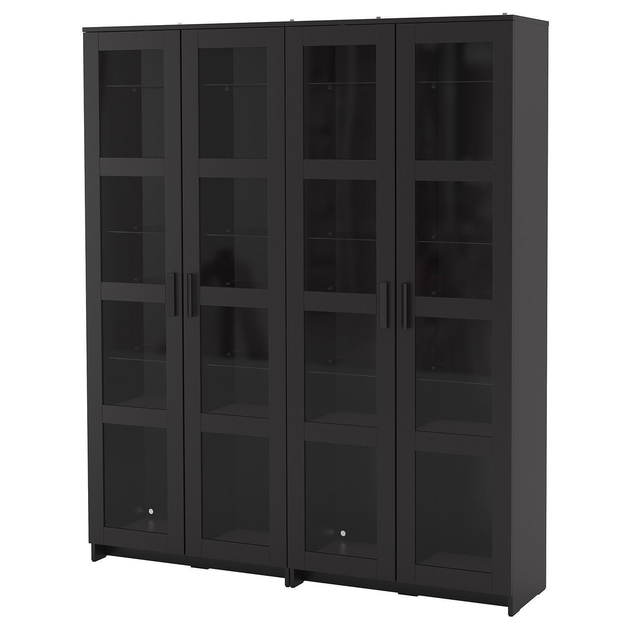 Стелаж (книжкова шафа) IKEA BRIMNES 160x35x190 см скляні двері чорний 192.782.34