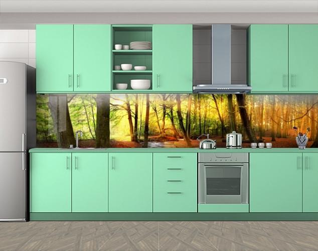Кухонный фартук Рассвет в лесу, Защитная пленка на кухонный фартук с фотопечатью, Природа, зеленый