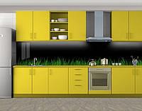 Кухонный фартук Трава на черном фоне, Стеновая панель с фотопечатью, Природа, черный