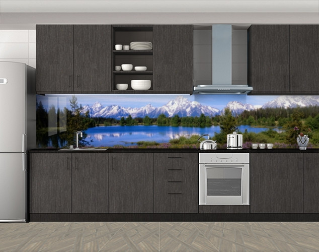 Кухонный фартук Горное озеро и заснеженные вершины, Фотопечать кухонного фартука на самоклейке, Природа, синий, 600*3000 мм