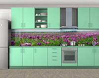 Кухонный фартук Поле тюльпанов, Защитная пленка на кухонный фартук с фотопечатью, Цветы, фиолетовый