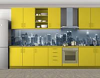 Кухонный фартук Черно-белый ночной город, Фотопечать скинали на кухню, Город ночью, серый