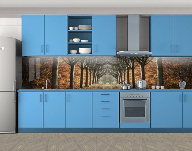 Кухонный фартук Алея осенних деревьев, Самоклеящаяся стеновая панель для кухни, Природа, коричневый