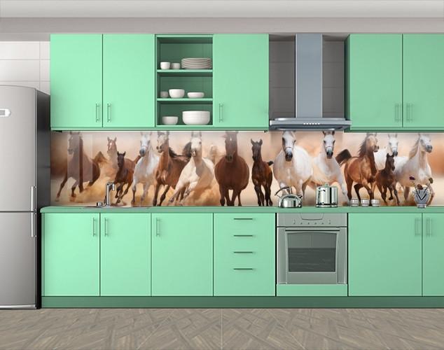 Кухонный фартук Табун лошадей, кони, Самоклеящаяся скинали с фотопечатью, Животный мир, коричневый