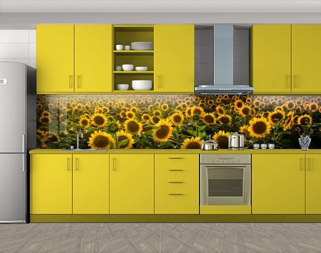 Кухонный фартук Подсолнухи поле, Скинали с фотоизображением на самоклеящейся пленке, Цветы, желтый, 600*3000 мм