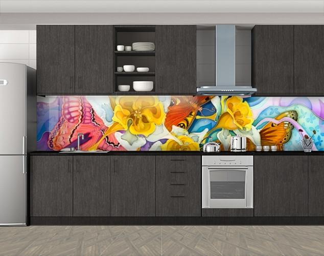 Кухонный фартук Батик Бабочки и цветы, Наклейка на кухонный фартук, Текстуры, фоны, желтый