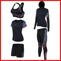 Женская компрессионная одежда для тренировок комплект 5в1 Легинсы/лосины. Топ. Футболка. Шорты. Худи