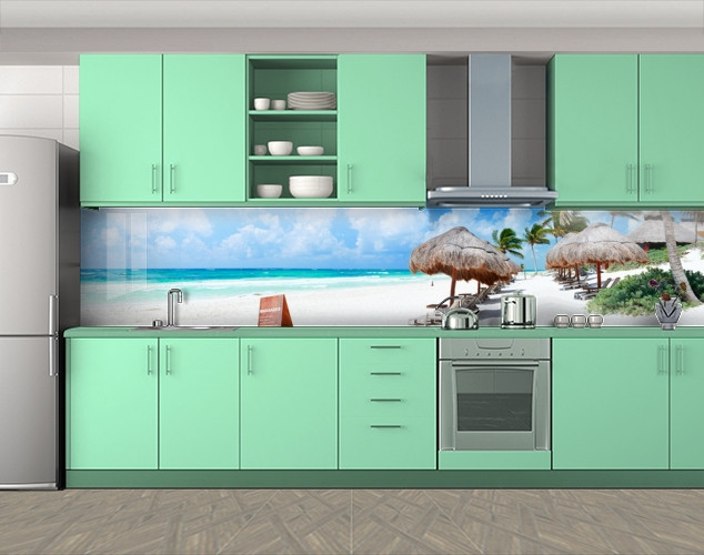 Кухонный фартук Островная жизнь, океан, Фотопечать кухонного фартука на самоклейке, Море, пляж, голубой, 600*3000 мм