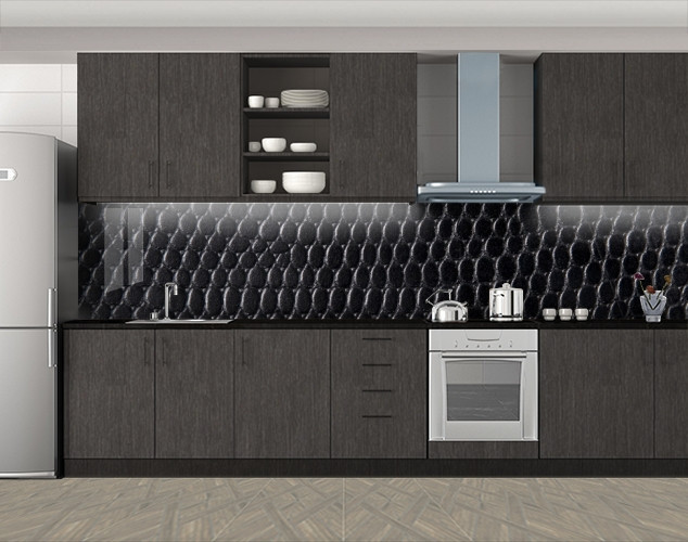 Кухонный фартук Змеиная кожа, Скинали с фотоизображением на самоклеящейся пленке, Текстуры, фоны, черный, 600*3000 мм