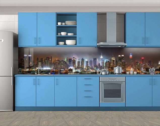 Кухонный фартук Ночной мегаполис, Фотопечать скинали на кухню, Город ночью, коричневый