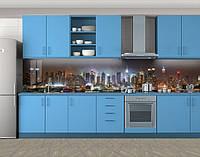 Кухонный фартук Ночной мегаполис, Фотопечать скинали на кухню, Город ночью, коричневый, фото 1