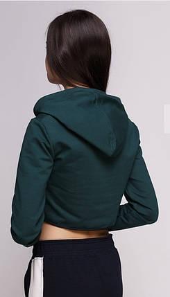 Кроп топ женский спортивный с капюшоном темно зеленый, фото 2