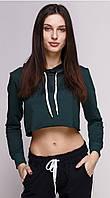 Кроп топ женский спортивный с капюшоном темно зеленый