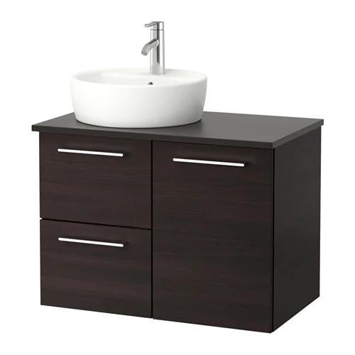 Шкаф с раковиной IKEA GODMORGON / TOLKEN / TÖRNVIKEN 82x49x74 см с ящиками коричневый антрацит 491.909.04