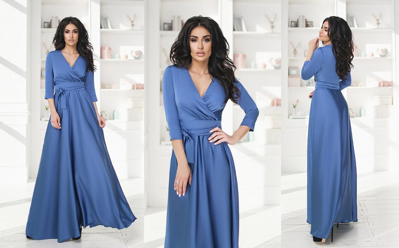 8c9a1053741 Длинное шелковое платье на запах