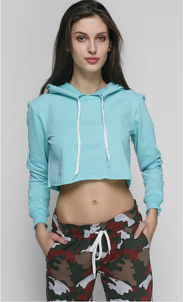 Топ женский спортивный с капюшоном минт, фото 2