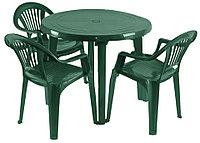 Садовая, Пластиковая мебель. Стол и стулья. 3 Луч Круглый