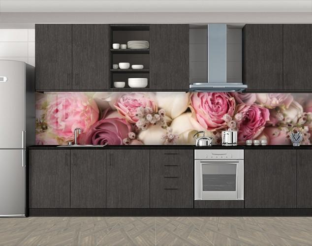 Кухонный фартук Пастельные розы, Стеновая панель для кухни с фотопечатью, Цветы, розовый, 600*3000 мм