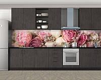 Кухонный фартук Пастельные розы, Стеновая панель для кухни с фотопечатью, Цветы, розовый