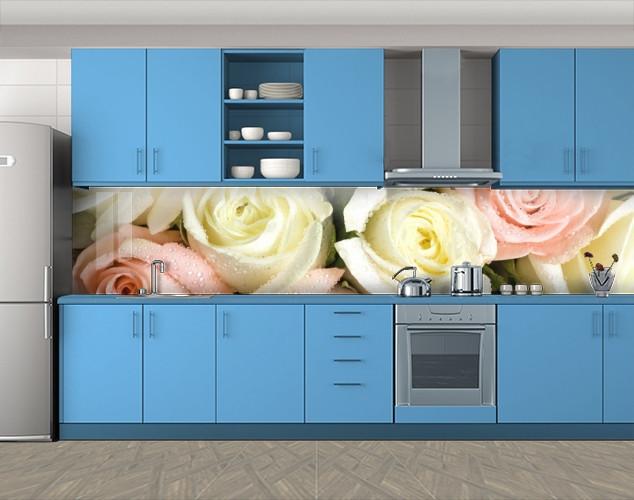 Кухонный фартук Белые розы, Пленка для кухонного фартука с фотопечатью, Цветы, белый