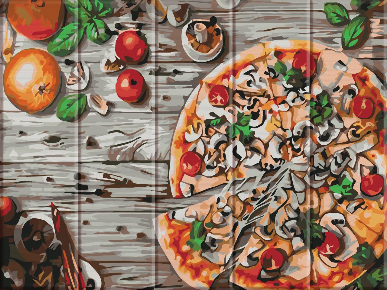 "Картина по номерам на дереве ""Пицца"" 30*40 см"