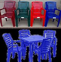 Пластмассовая мебель для сада. Пластиковая мебель. Стол и стулья. 4 Рекс Круглый