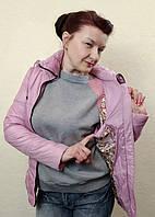 Демисезонная женская сиреневая куртка с капюшоном и поясом, Meajiateer