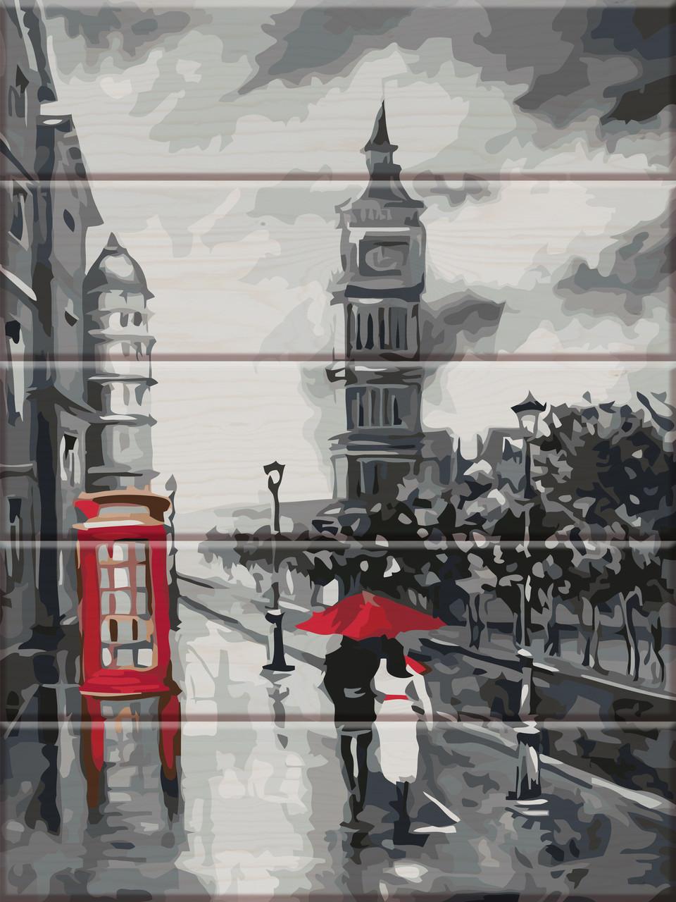 "Картина по номерам на дереве ""Старый Лондон"" 30*40 см"