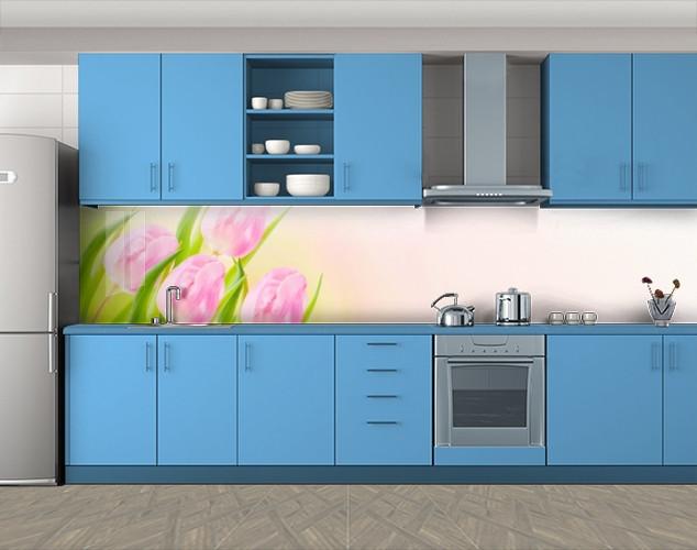 Кухонный фартук Нежные розовые тюльпаны, Стеновая панель с фотопечатью, Цветы, розовый