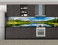 Кухонный фартук Панорама Озеро и горы, Защитная пленка на кухонный фартук с фотопечатью, Природа, зеленый