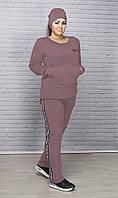 Стильный прогулочный костюм-тройка батал, фото 1