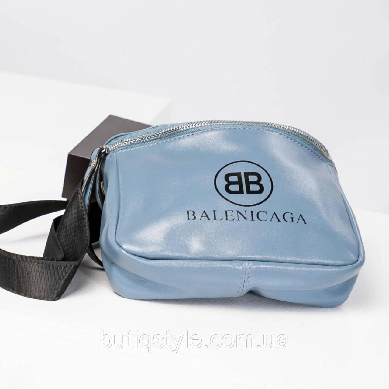 Жіноча блакитна сумка Balenci@g@ екошкіра